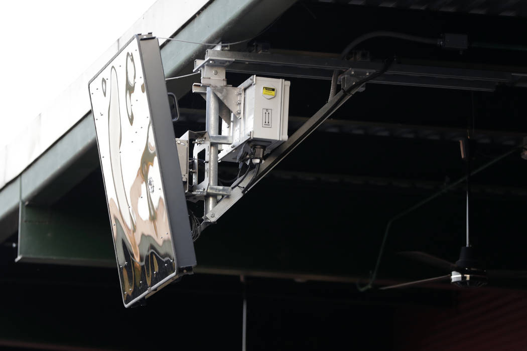 A radar device is seen on the roof behind home plate at PeoplesBank Park during the third innin ...