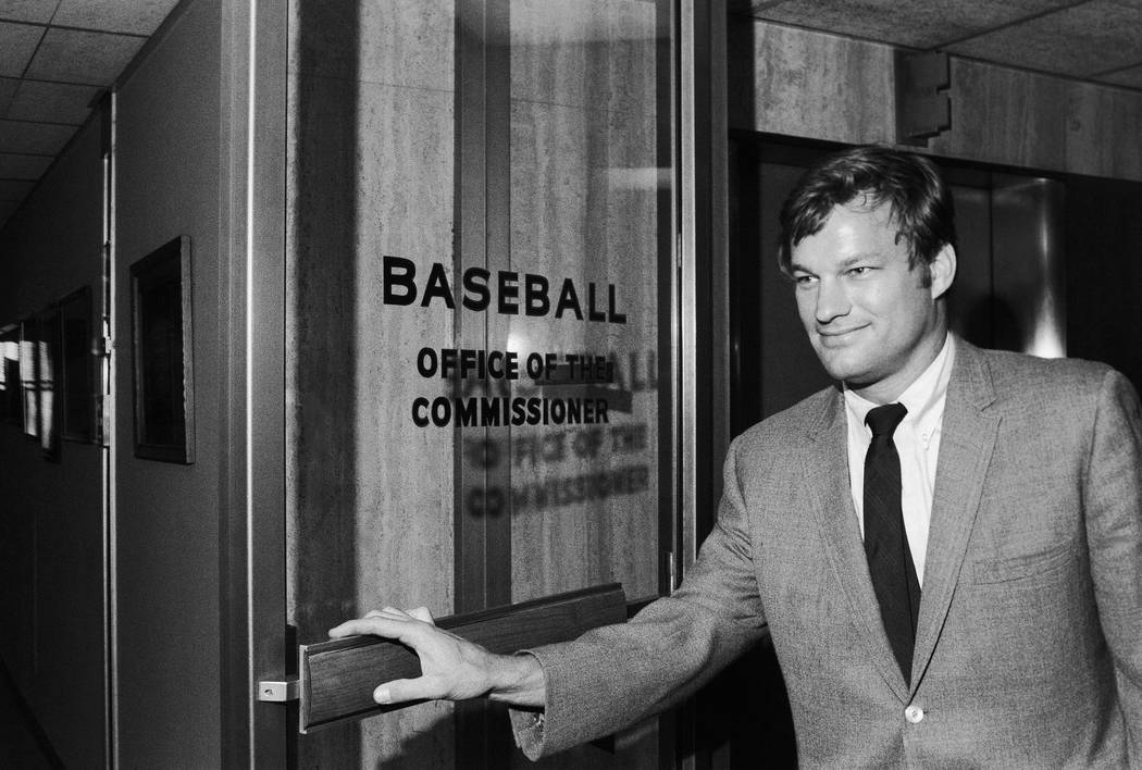 Houston Astros pitcher Jim Bouton Emerges from office of baseball commissioner Bowie Kuhn after ...