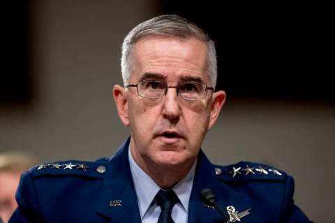 FILE - In this April 11, 2019, file photo, U.S. Strategic Command Commander Gen. John Hyten tes ...
