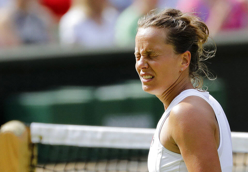 Czech Republic's Barbora Strycova reacts as she plays United States' Serena Williams in a Women ...