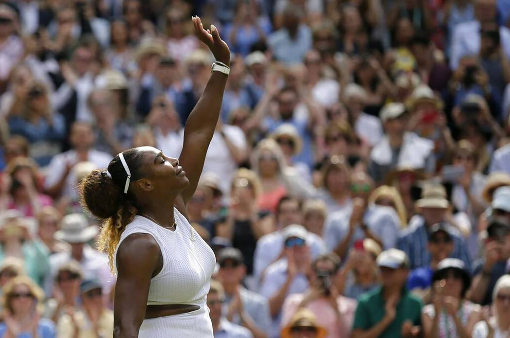 United States' Serena Williams celebrates defeating Czech Republic's Barbora Strycova during a ...