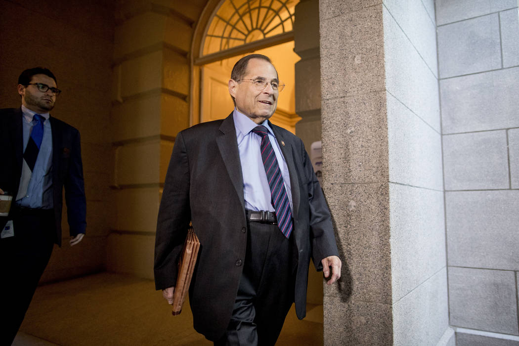 Judiciary Committee Chairman Jerrold Nadler, D-N.Y., arrives for a House Democratic caucus meet ...