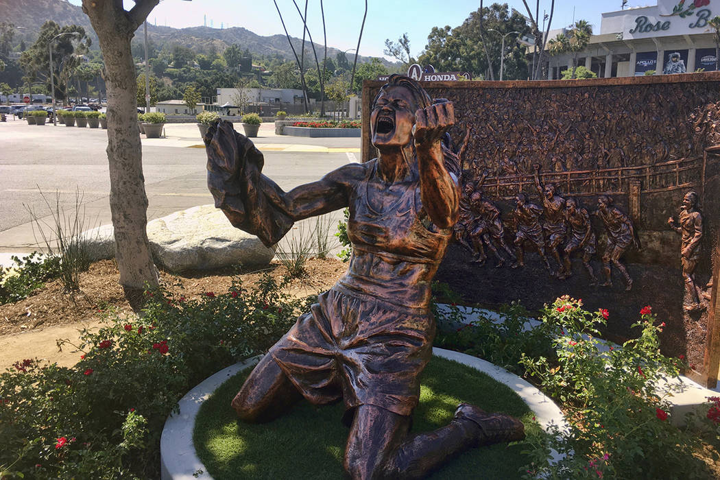A statue capturing Brandi Chastain's iconic reaction to scoring the U.S. team's winning goal in ...