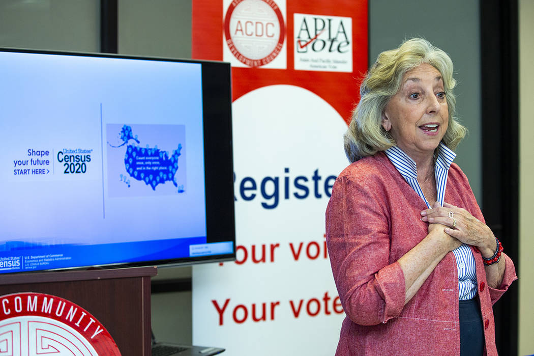 Rep. Dina Titus speaks to volunteers during an Asian Community Development Council sponsored se ...