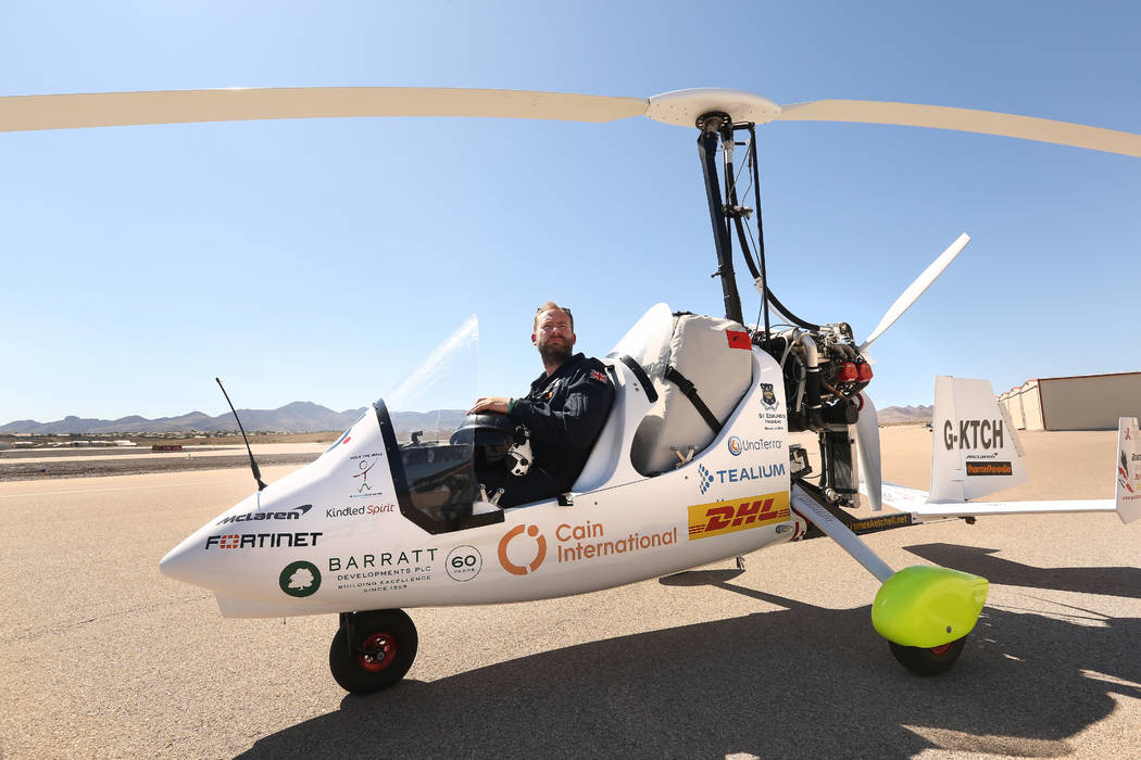 James Ketchell shows off his gyrocopter at Henderson Executive Airport on July 11, 2019 in Hend ...