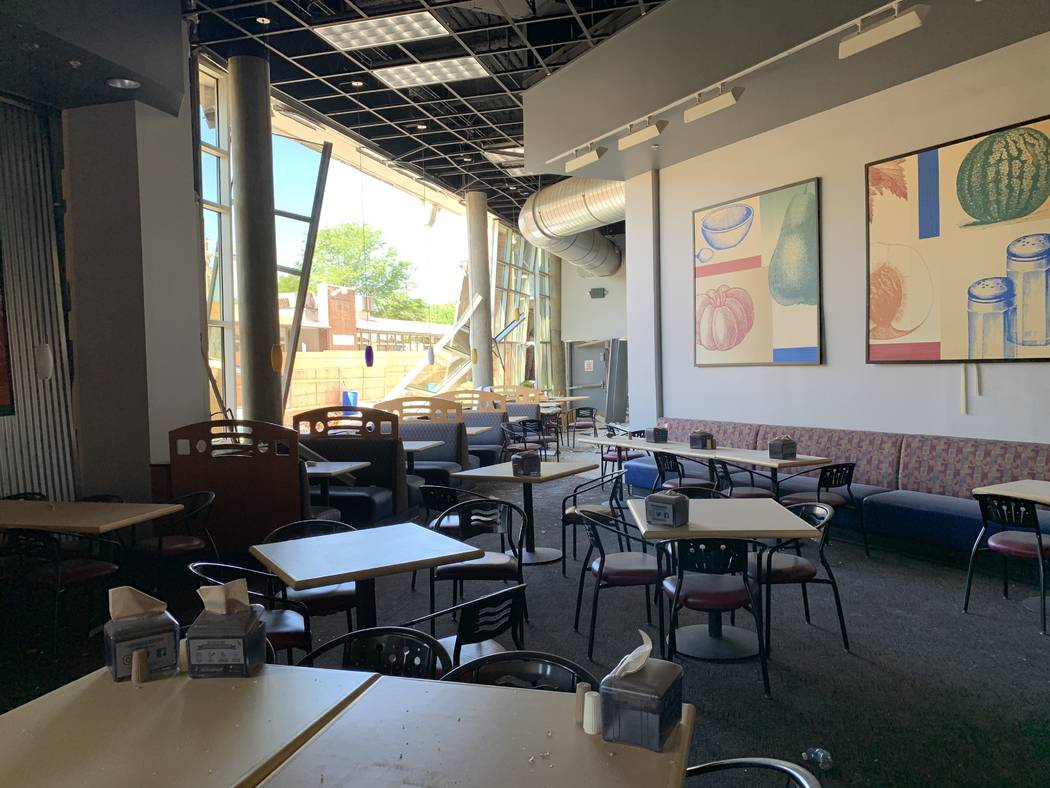 The shattered cafeteria of Argenta Hall at University of Nevada, Reno, following the July 5 exp ...