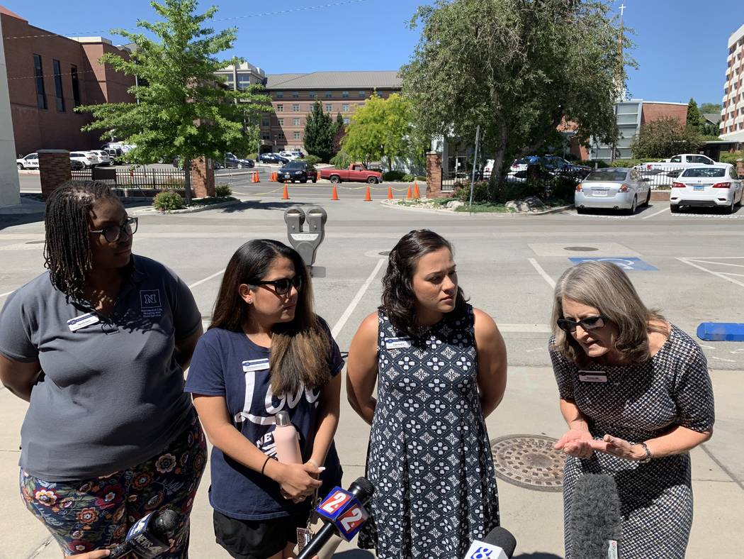 At right, Shannon Ellis, UNR vice president of student services, speaks to reporters about the ...