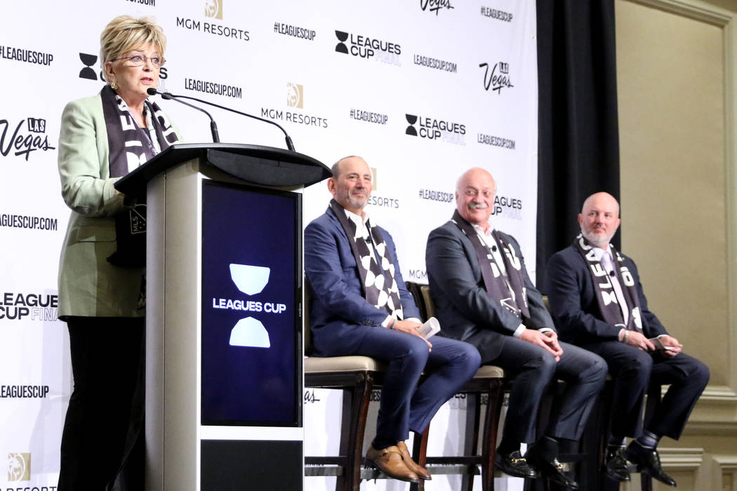 Las Vegas Mayor Carolyn Goodman talks to media about the Liga MX-Major League Soccer (MLS) Leag ...