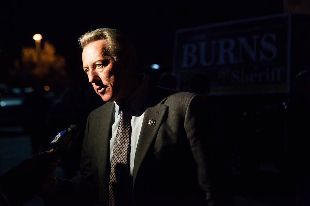 Las Vegas police Capt. Larry Burns Lombardo speaks to the news media about his campaign for she ...
