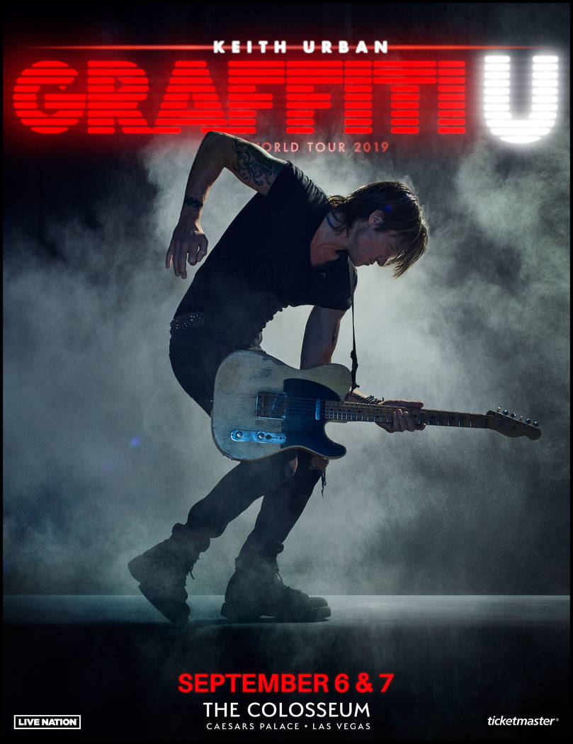 """Keith Urban is bringing is """"Graffiti U"""" world tour to the renovated Colosseum at Caesars Palace ..."""