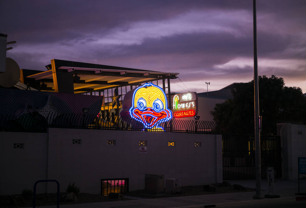 The recently restored Ugly Duckling sign at the Neon Museum in downtown Las Vegas on Thursday, ...