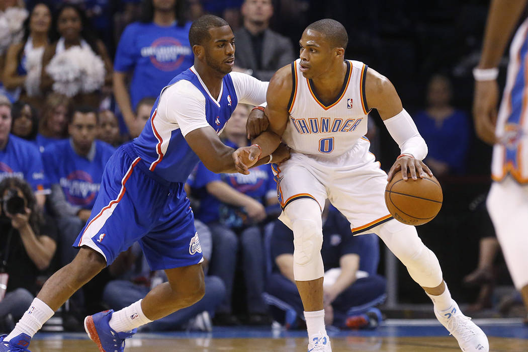 FILE - In this Monday, May 5, 2014 file photo, Oklahoma City Thunder guard Russell Westbrook (0 ...