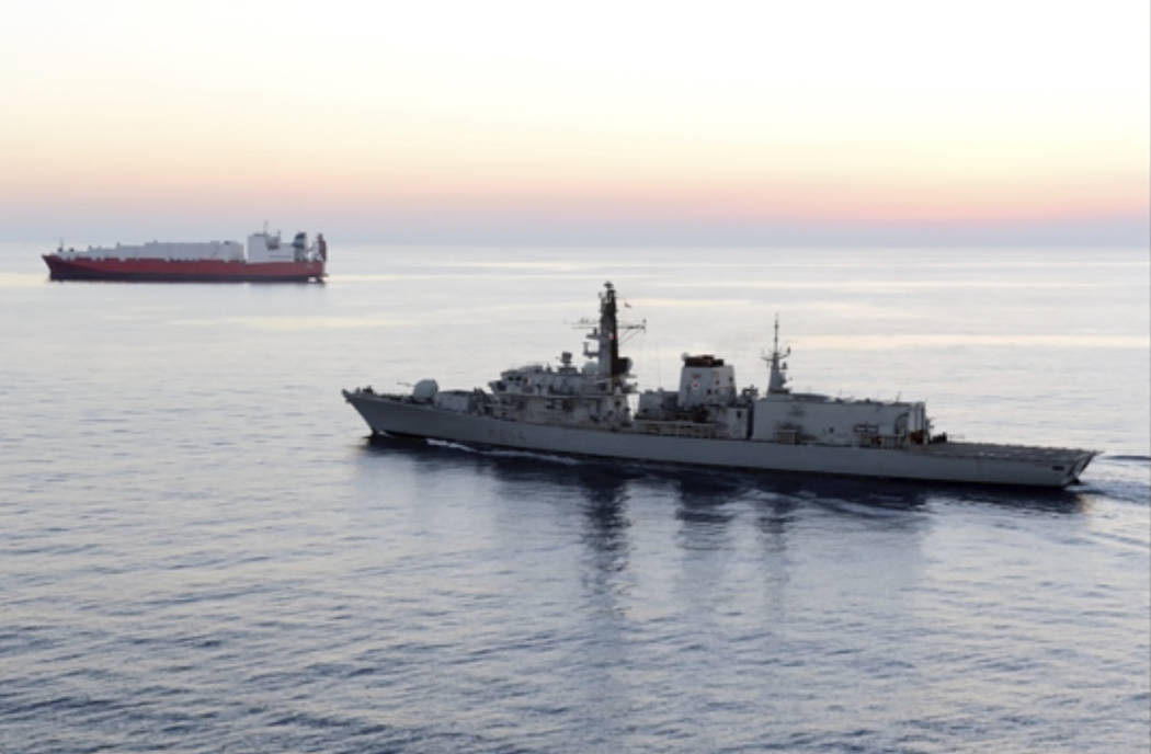 In this image from file video provided by UK Ministry of Defence, British navy vessel HMS Montr ...