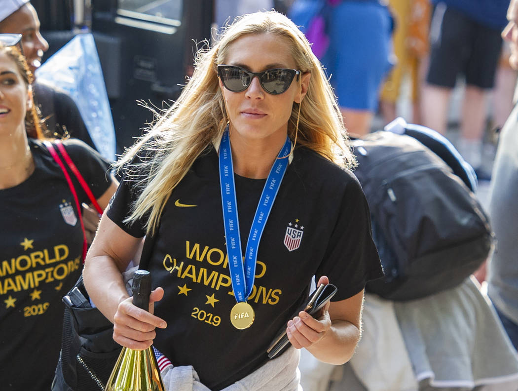 In this July 8, 2019 file photo, United States women's soccer team member Allie Long walks to a ...