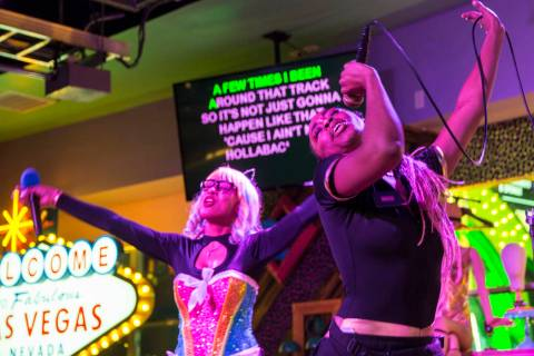 "Xstal Yumi, right, and MC Primrose Martin perform Gwen Stefani's ""Hollaback Girl"" at ..."