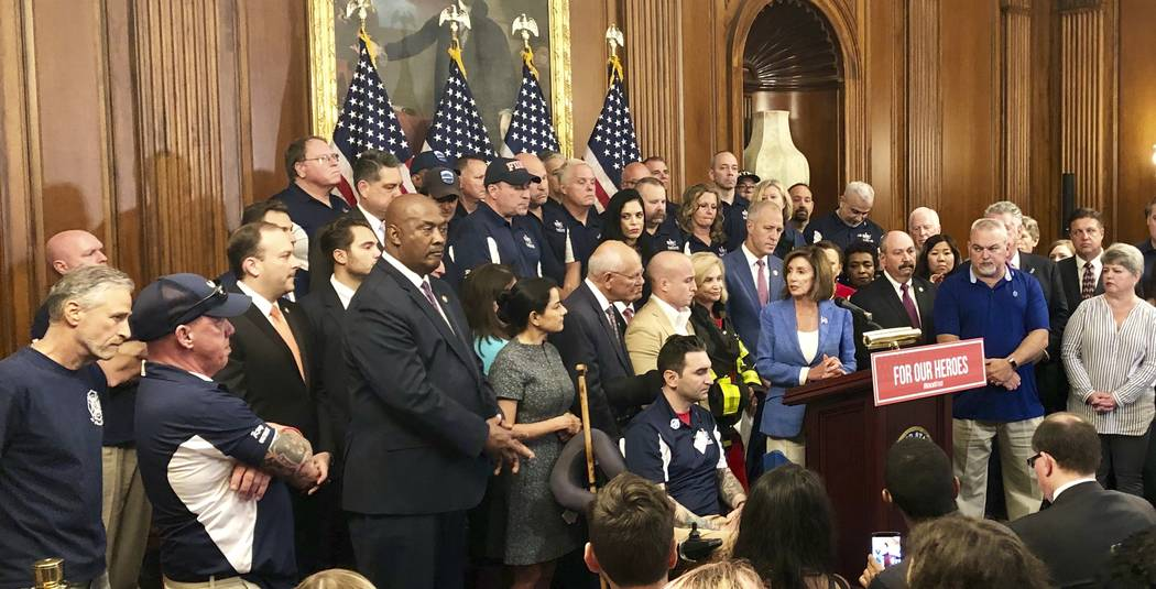 House Speaker Nancy Pelosi speaks at a news conference on behalf of 9/11 victims and families, ...