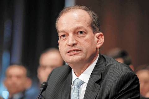 FILE - In this March 22, 2017 file photo, Labor secretary-designate Alexander Acosta testifies ...