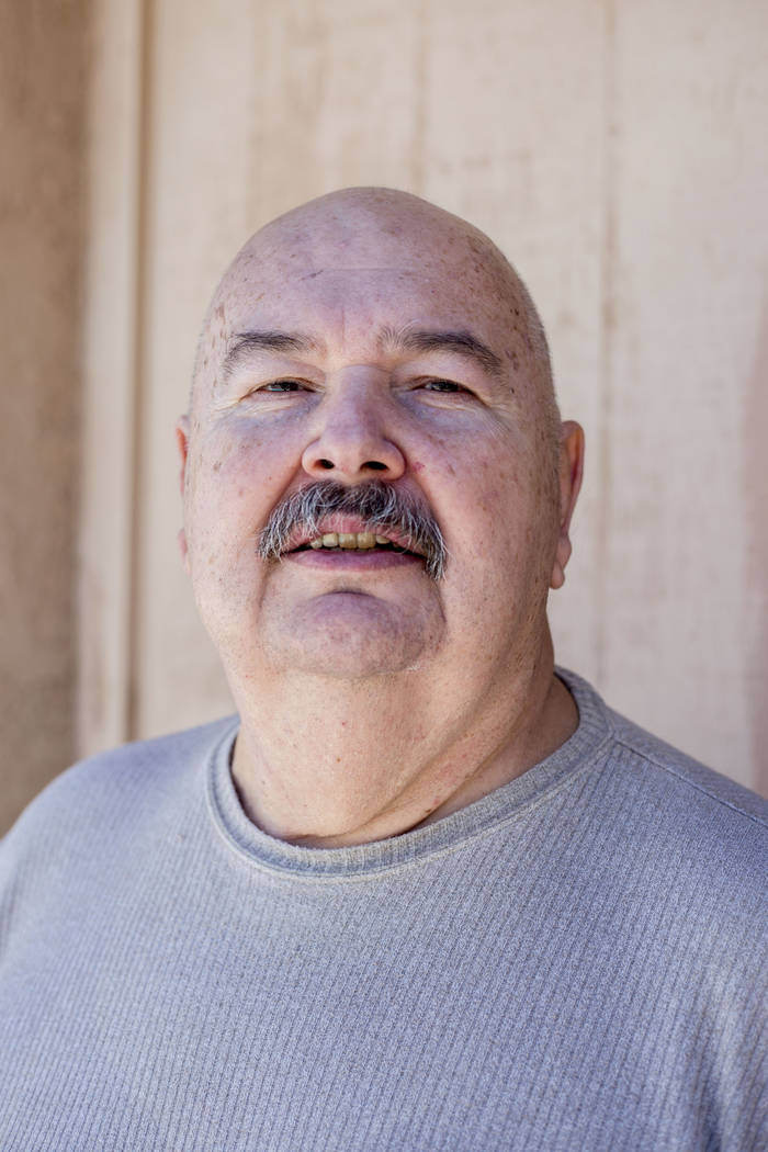 Fred Dunham, former Area 51 security guard, poses for a portrait at his home Thursday, Aug. 18, ...