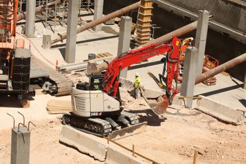 Construction of the the expansion of Showcase Mall continues on July 12, 2019 in Las Vegas.(Mic ...