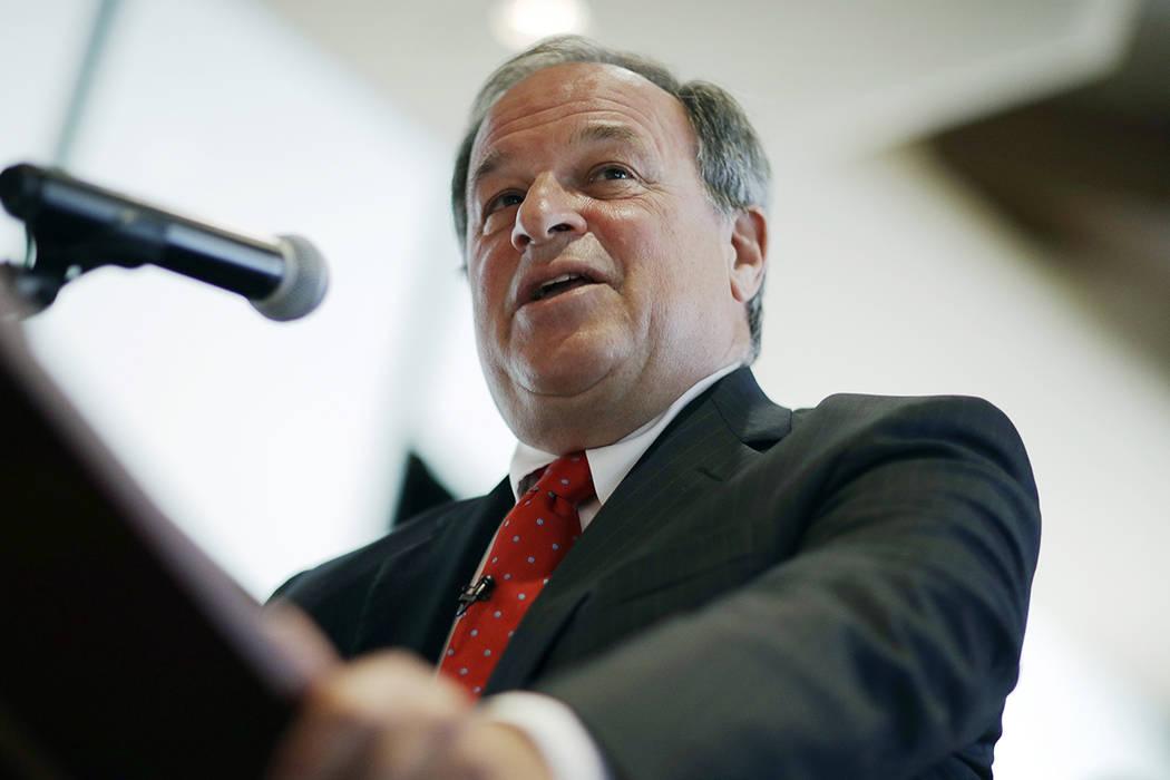 FILE - In this Sept. 5, 2017 file photo, former Nevada State Treasurer Dan Schwartz speaks in L ...