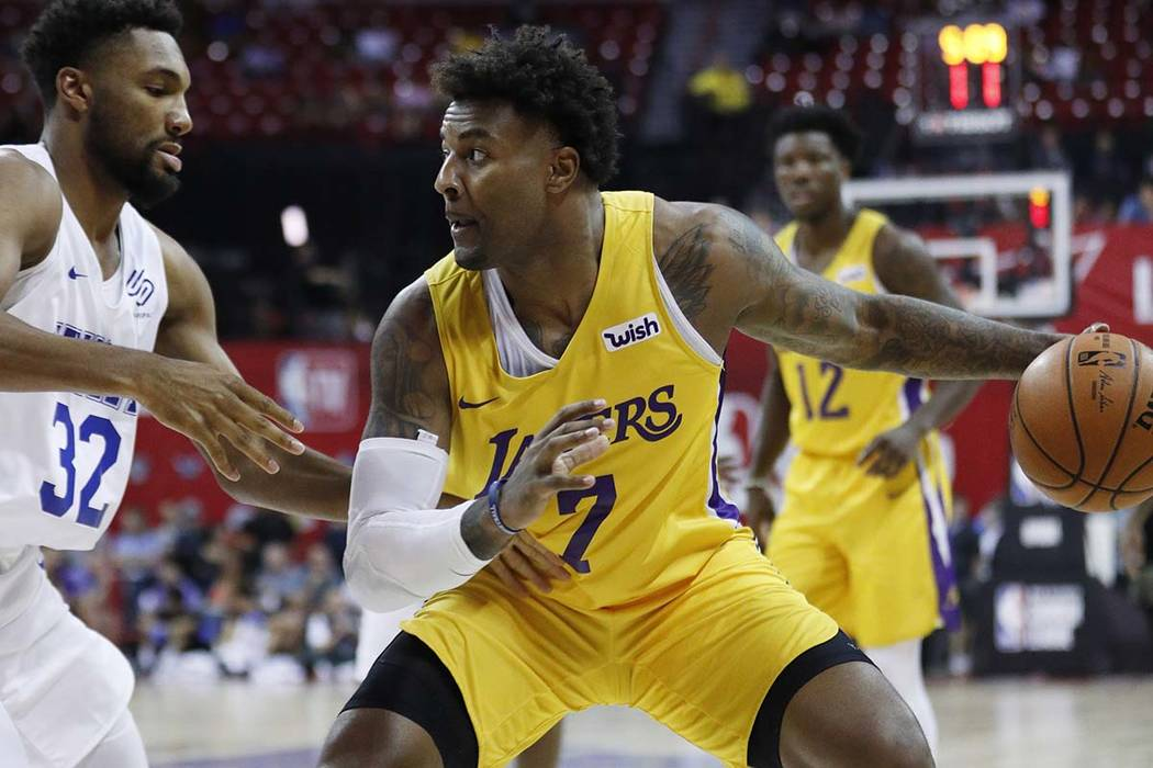 Los Angeles Lakers' Jordan Caroline on Wednesday, July 10, 2019, in Las Vegas. (AP Photo/John L ...