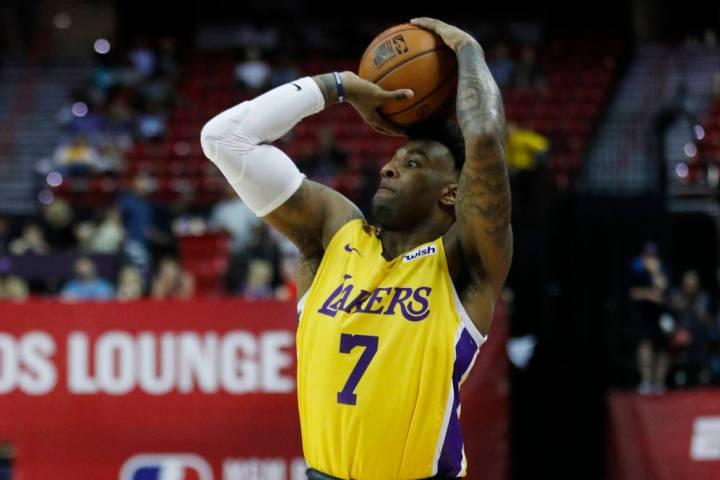 Los Angeles Lakers' Jordan Caroline plays against the New York Knicks during an NBA summer leag ...