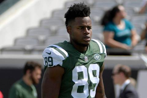 In this Sept.30, 2018, file photo, New York Jets tight end Chris Herndon warms up before an NFL ...