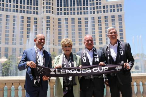From left, Major League Soccer Commissioner Don Garber, Las Vegas Mayor Carolyn Goodman, Liga M ...