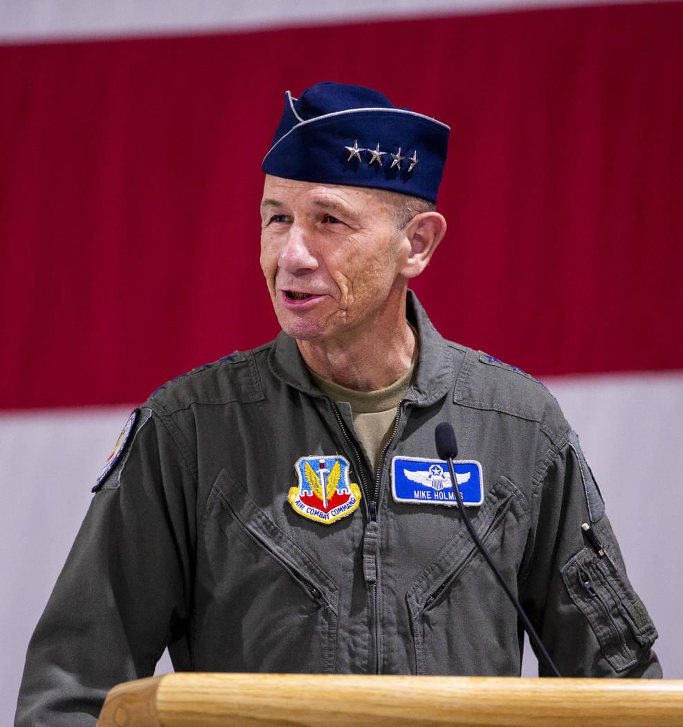 Gen. Mike Holmes, Commander of Air Combat Command, speaks on behalf of Maj. Gen. Charles Corcor ...