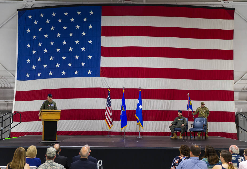 Maj. Gen. Charles Corcoran speaks during an Assumption of Command Ceremony as he assumes comman ...