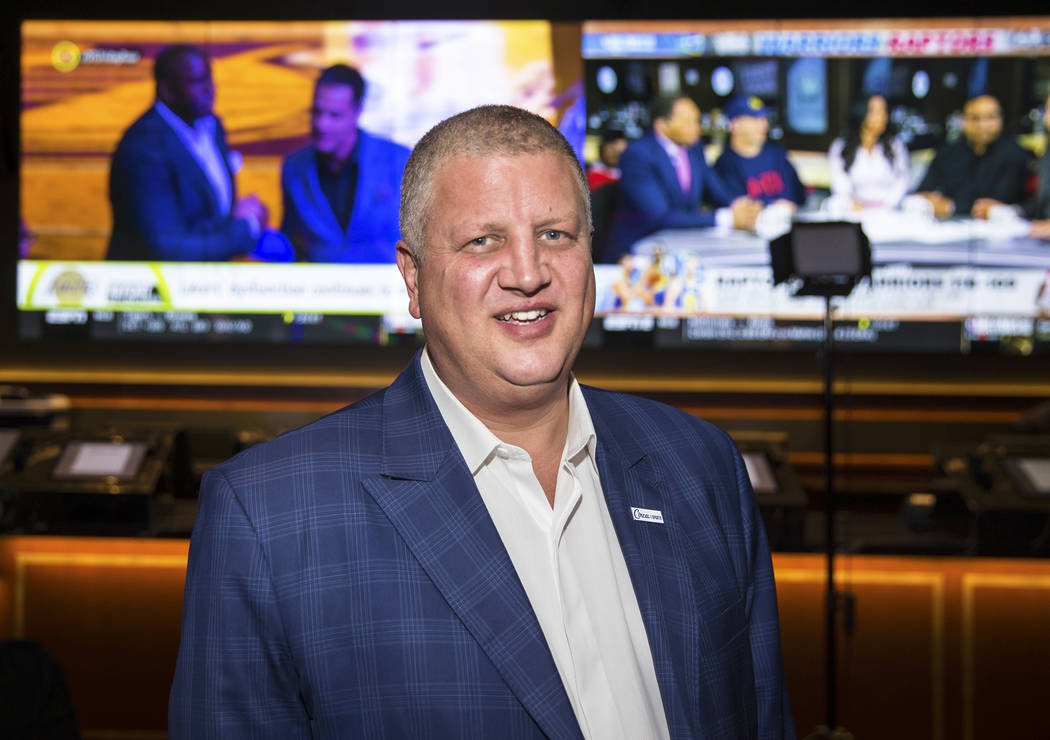 Derek Stevens, co-owner of D Las Vegas and Golden Gate, at the new sportsbook at Golden Gate on ...