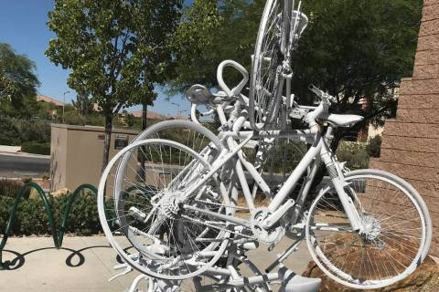 A memorial sculpture created by Ghost Bikes Las Vegas is displayed Thursday, July 11, 2019, at ...