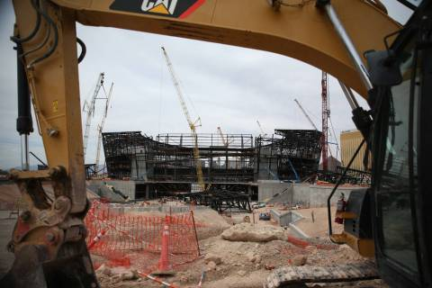 The Raiders stadium construction site in Las Vegas, Tuesday, June 25, 2019. (Erik Verduzco / La ...