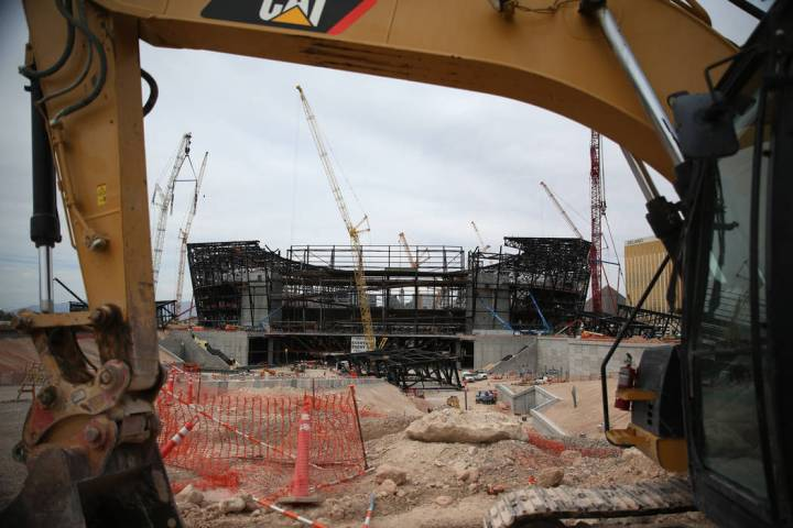 The Raiders stadium construction site in Las Vegas, Tuesday, June 25, 2019. (Erik Verduzco / La ...