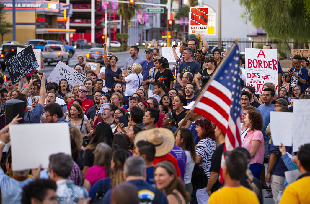 Advocates, activists and impacted people gather during the Lights for Liberty: A Vigil to End H ...