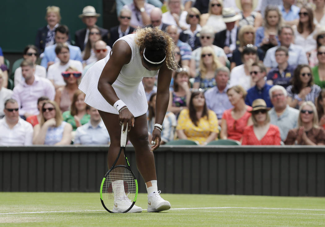 United States' Serena Williams is dejected after losing a point during the women's singles fina ...