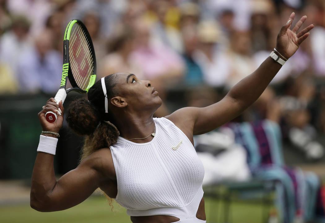 United States' Serena Williams serves to Romania's Simona Halep during the women's singles fina ...