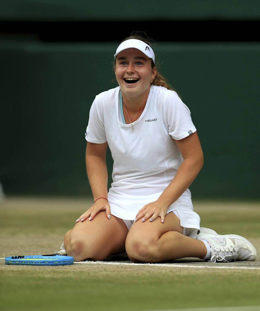 Finland's Daria Snigur celebrates winning against Alexa Noel of the US, during the girls' singl ...