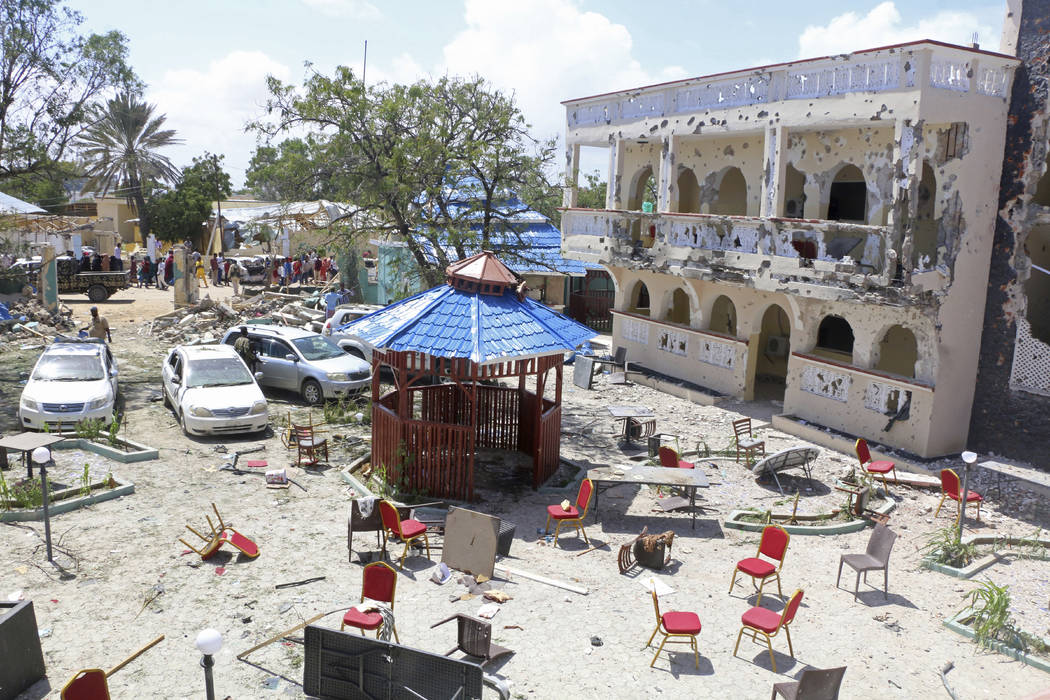A view of Asasey Hotel after an attack, in Kismayo , Somalia, Saturday July 13, 2019. At least ...
