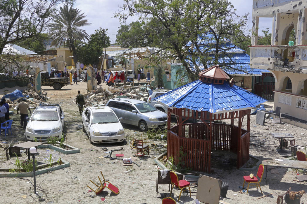 A view of Asasey Hotel after an attack, in Kismayo, Somalia, Saturday July 13, 2019. At least ...