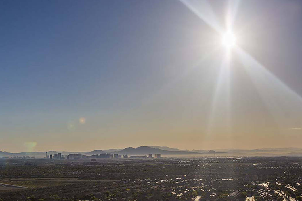 The sun rises over the southwest Las Vegas Valley on Wednesday, June, 5, 2019, in Las Vegas. (B ...