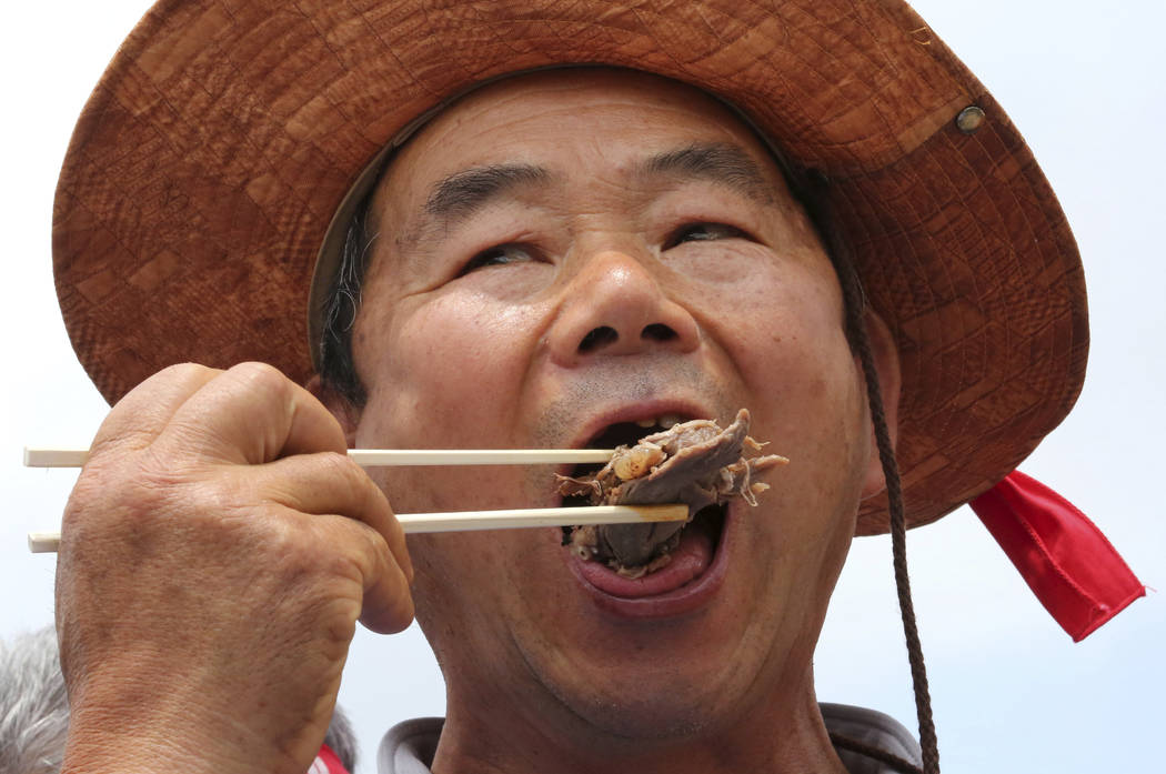 A member of the Korean Dog Meat Association eats dog meat during a rally to support eating the ...