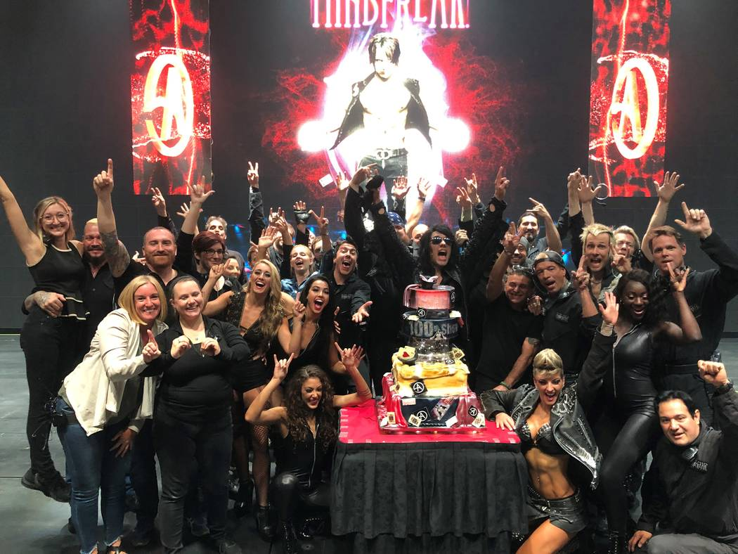 Criss Angel and his crew celebrate his 100th performance at Planet Hollywood on Friday, July 12 ...