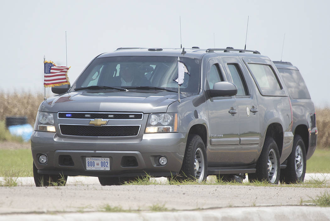 Vice President Mike Pence's motorcade enters the migrant tent city on Friday, July 12, 2019, in ...