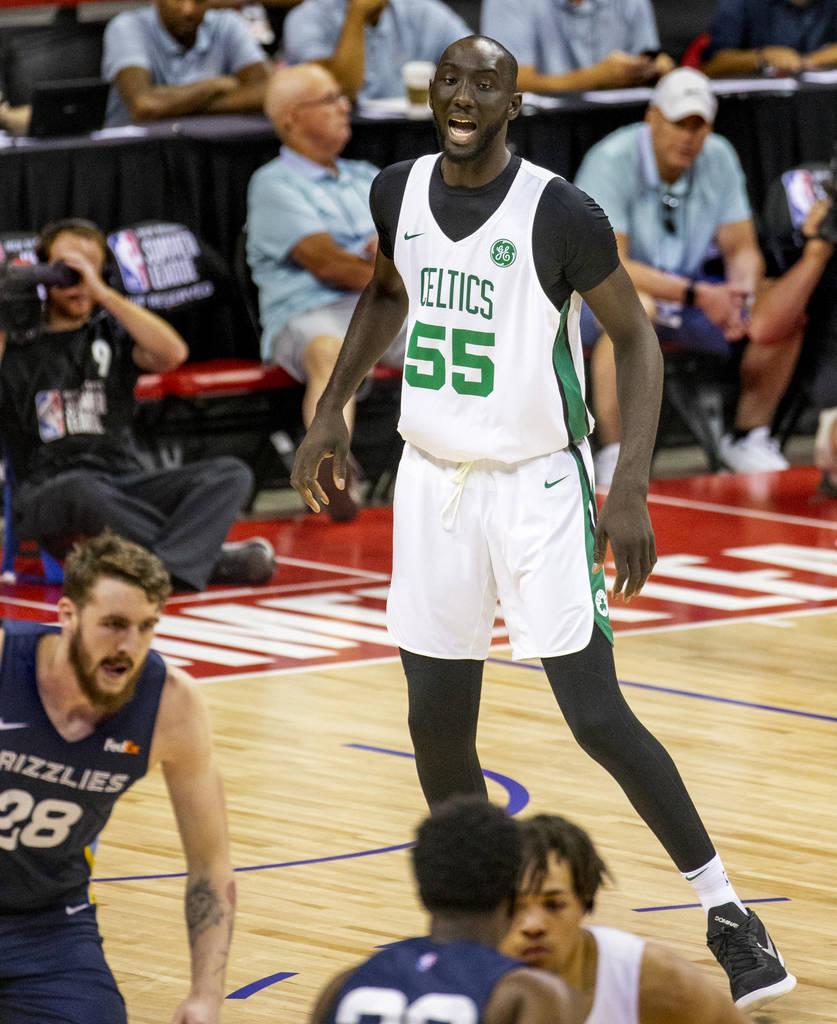 Boston Celtics center Tacko Fall calls out a defense to teammates versus the Memphis Grizzlies ...