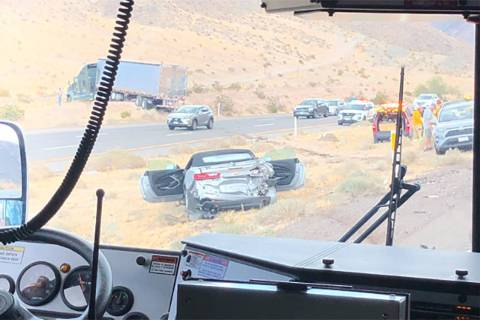 Multiple people were hospitalized Saturday afternoon after a semitruck crossed an Interstate 15 ...