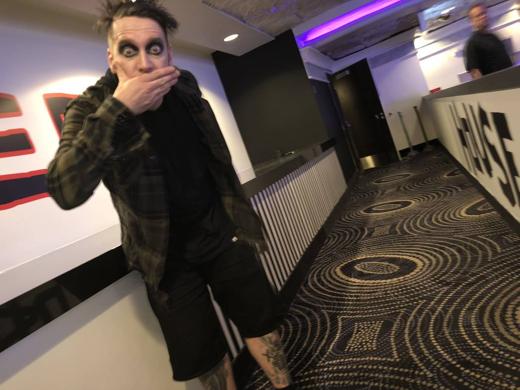 Tape Face is shown at the entrance of the House of Tape on Wednesday, March 14, 2018 (John Kats ...