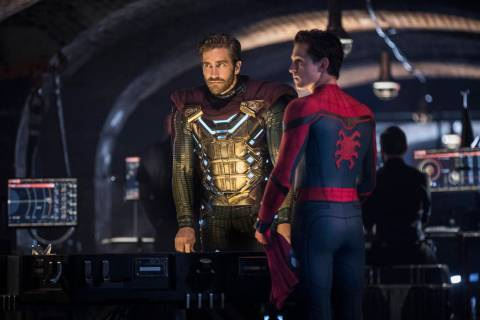 This image released by Sony Pictures shows Jake Gyllenhaal, left, and Tom Holland in a scene fr ...