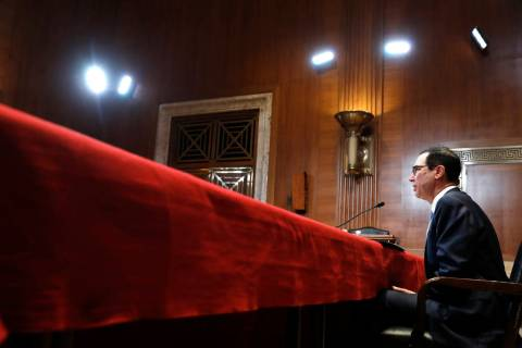 FILE- In this May 15, 2019, file photo Treasury Secretary Steve Mnuchin testifies about the bud ...