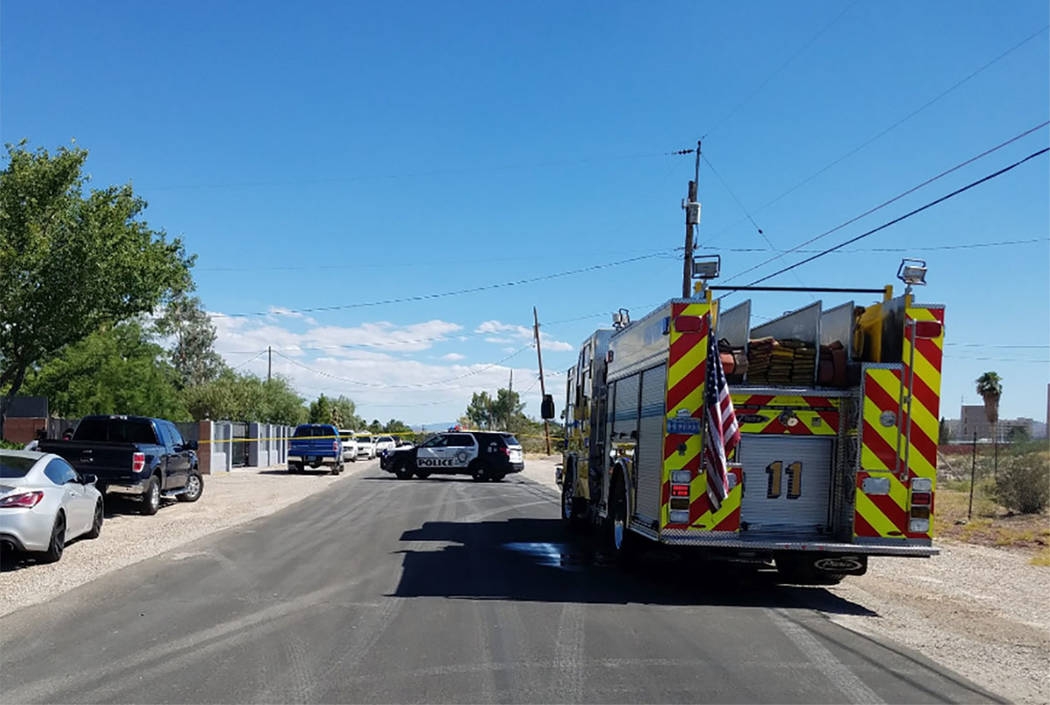 Las Vegas police respond to a residence in the 7700 block of Haven Street on Sunday, July 14, 2 ...